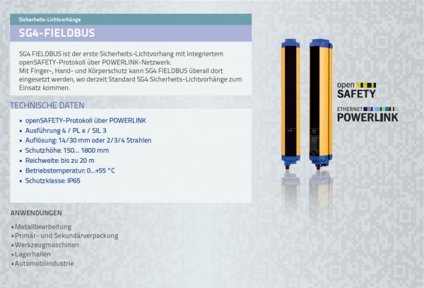 SG4 FIELDBUS Base Sicherheitslichtvorhang Typ 4 Res = 14mm H = 150mm openSAFETY / POWERLINK