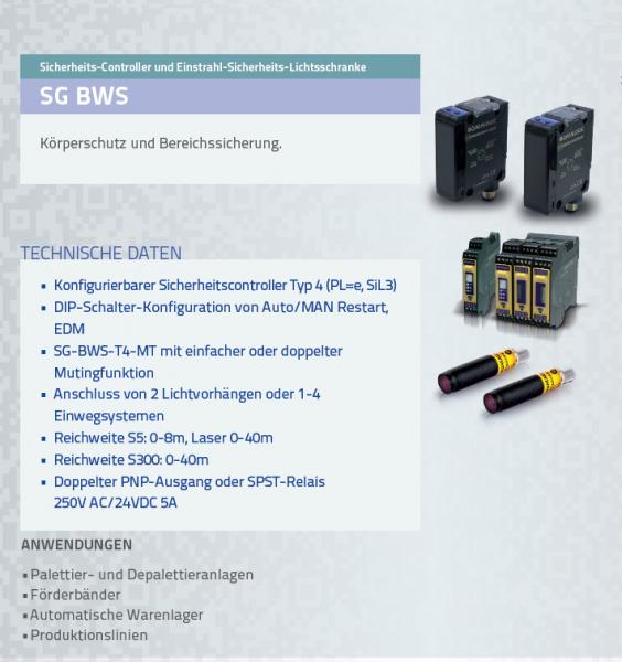 SG BWS Sicherheits-Controller und Einstrahl-Sicherheits-Lichtsschranke