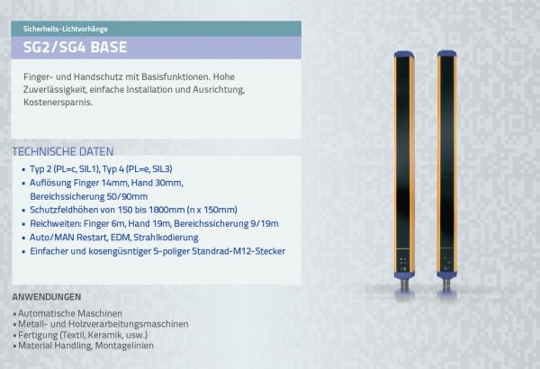 SG4 BASE Sicherheitslichtvorhang Typ 4 Res = 14mm h = 150mm Autorestart
